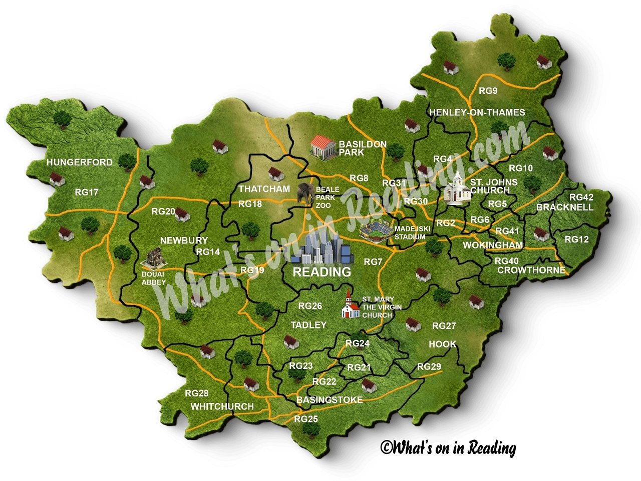 Reading and RG postcode Map